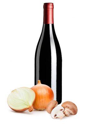 food by four - the sous vide company - wijn, ui en champignon